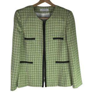 Tahari ASL Tweed Wool Blend Blazer Jacket Size 14